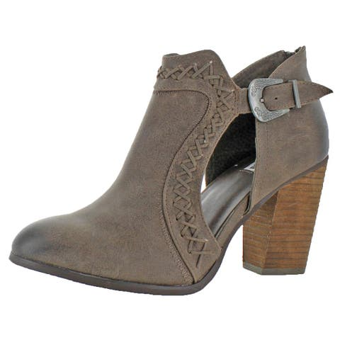 Not Rated Women's JR Faux Leather Distressed Cut-Out Stacked Heel Ankle Bootie