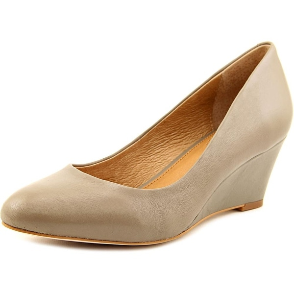 Corso Como Wright Women Open Toe Leather Gray Wedge Heel