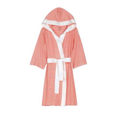 Organic Cotton Jersey Bathrobe with Stripes