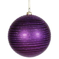 "Purple Passion Glitter Striped Shatterproof Christmas Ball Ornament 4"" (100mm)"
