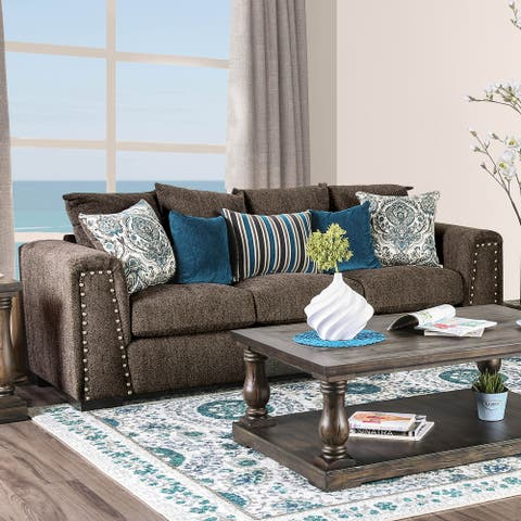 Furniture of America Ramm Contemporary Brown Linen Fabric Padded Sofa