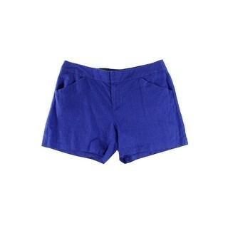 INC NEW Goddess Blue Women's Size 0 Slant Pocket Casual Linen Shorts
