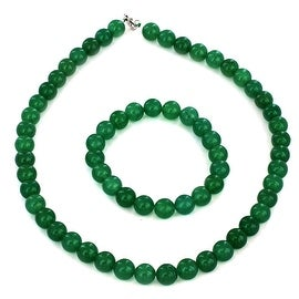 Sterling Silver Green Aventurine Beaded Bracelet and Necklace Set