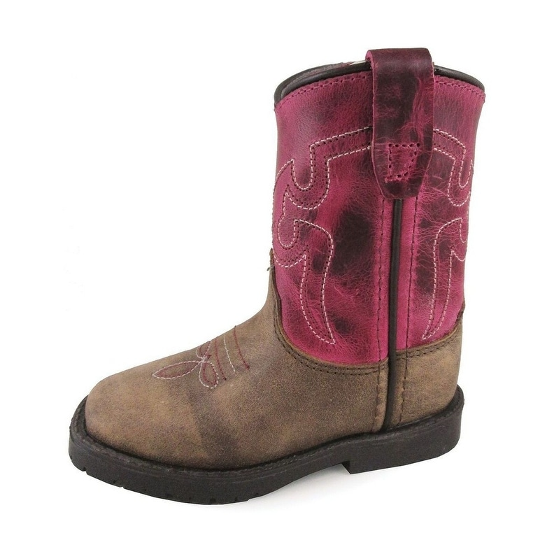 Smoky Mountain Girls Brown with Pink Stitch Monterey Western Cowboy Boots Brown 4