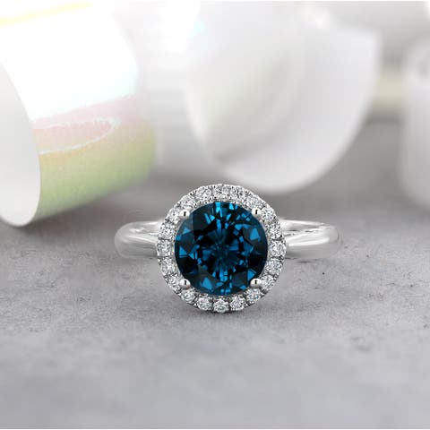 Auriya 2 1/2ct Round London Blue Topaz and Halo Diamond Engagement Ring 1/4ctw 14k Gold