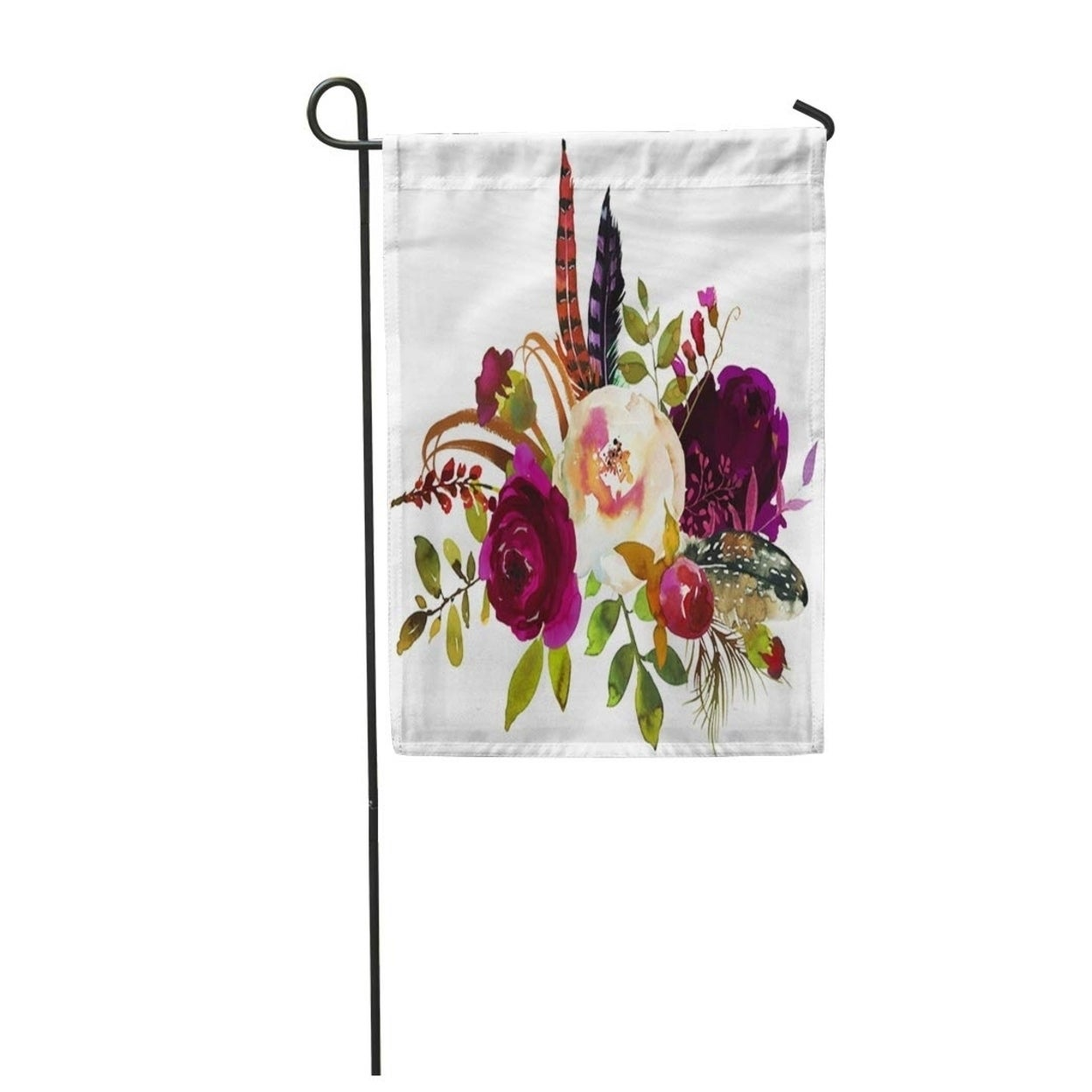 Watercolor Boho Burgundy Violet White Floral Bouquet Flowers And Feathers Garden Flag Decorative Flag House Banner 12x18 On Sale Overstock 31365294