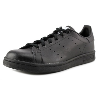 Adidas Stan Smith J Youth Round Toe Leather Black Sneakers