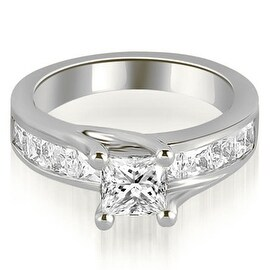 1.05 cttw. 14K White Gold Princess Cut Channel Engagement Diamond Ring