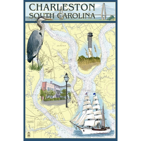 Charleston, SC - Nautical Chart - LP Artwork (100% Cotton Towel Absorbent)