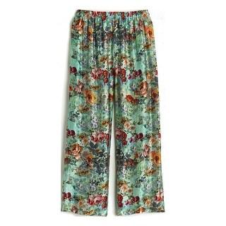 APNY Apparel Women's Rose Garden Silk Pajama Pants - Floral Cropped PJ Bottoms