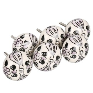 6 PACK SET CERAMIC KNOBS Drawer Pull Cupboard Handles Door Vintage Shabby Chic