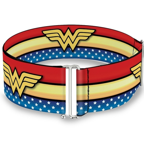 Wonder Woman Logo Stripe Stars Red Gold Blue White Cinch Waist Belt ONE SIZE