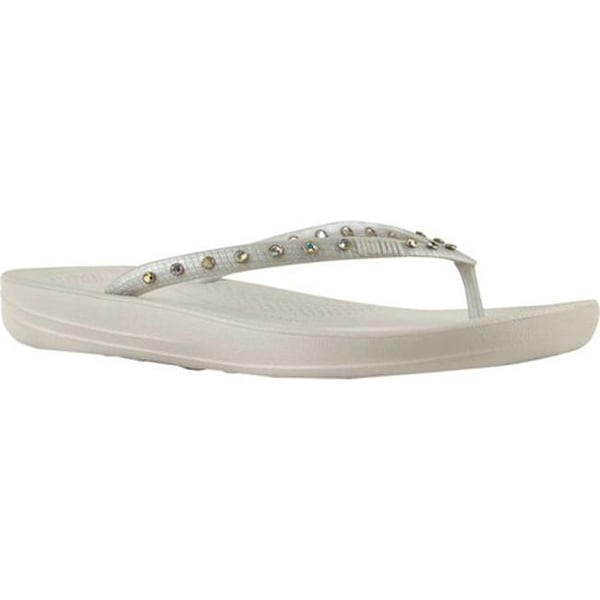 65b180980 FitFlop Women  x27 s iQushion Crystal Ergonomic Flip-Flop Silver  Crystal Snake
