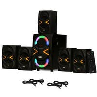 Acoustic Audio AA5210 Home 5.1 Speaker System with Bluetooth LED & 4 Ext. Cables