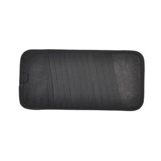 Unique Bargains Auto Vehicle Stretchy Band Black Nylon 12 Pocket CD Visor Holder