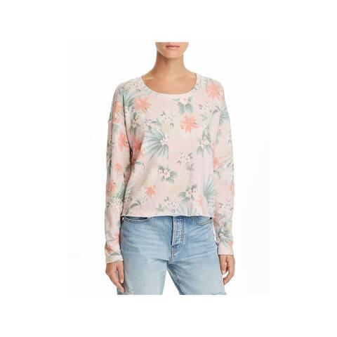 Sundry Womens Juniors Crewneck Sweater Floral Print Crew