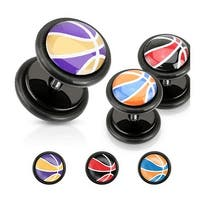 Basketball Inlay Multi Colored Black Acrylic Fake Plug with O-Rings (Sold Individually)