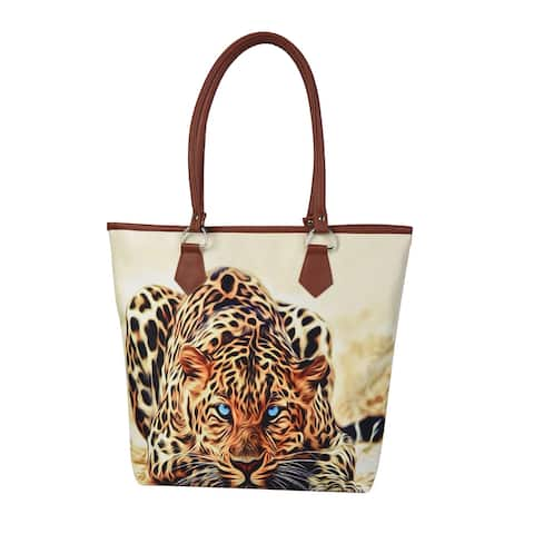DESIGNER INSPIRED Yellow Black Leopard Polyester Beige Tote Bag - 16.54x4.33x14 inches