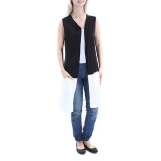 Womens Black White Sleeveless Open Casual Sweater Size XS