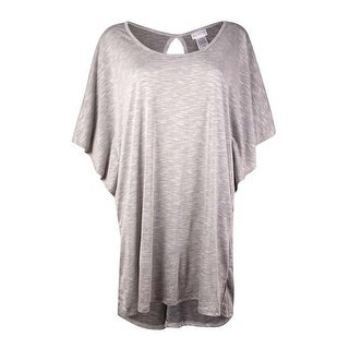 Dotti Women's Scoop-Neck Keyhole Jersey Swim Cover (M, Grey) - grey - M