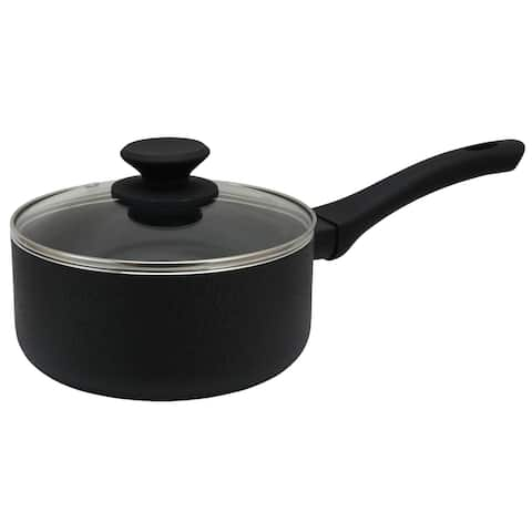 Oster Ashford 2 Quart Aluminum Nonstick Sauce Pan with Tempered Glass Lid in Black