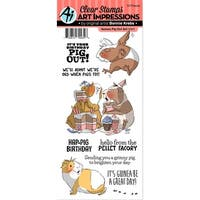 Art Impressions Funny Farm Clear Stamps-Guinea Pig Out