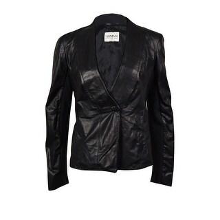 Armani Collezioni Women's Knit-Trim Lamb Leather Jacket - 6