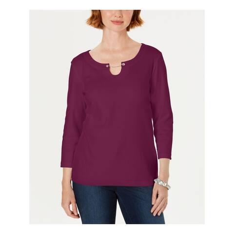 KAREN SCOTT Womens Purple 3/4 Sleeve Wear To Work Top Size L