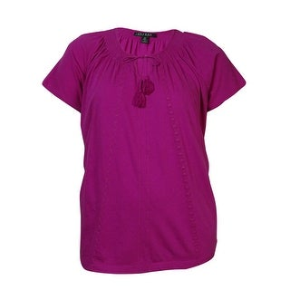 Lauren Ralph Lauren Women's Embroidered Knit Cotton Top - 2x