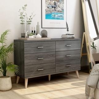 Link to Carson Carrington Gjovik Mid-Century Distressed Grey 6-drawer Dresser Similar Items in Bedroom Furniture