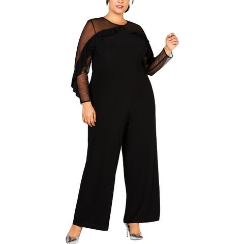 R&M Richards Womens Plus Jumpsuit Ruffled Illusion