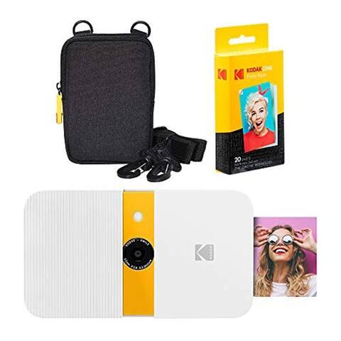 KODAK Smile Instant Print Digital Camera (White/ Yellow) Soft Case Kit