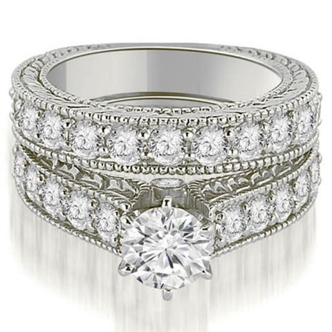 3.15 CT Antique Cathedral Round Diamond Engagement Set in 14KT Gold - White H-I
