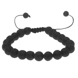 Natural Lava Gemstone Bead Bracelet, Round 8mm, 1 Bracelet, Black