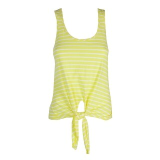Maison Jules Acid Yellow Striped Cotton Tie-Hem Tank Top XS