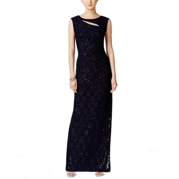 Connected Apparel Blue Women's Size 8 Cutout Sequined Lace Gown