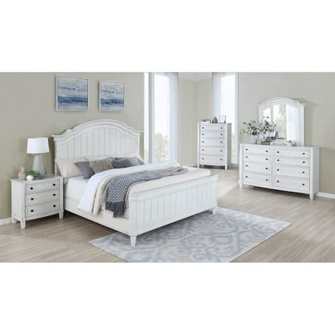 Saline Wood Camelback Planked Bed with Dresser, Mirror, Nightstand, and Chest