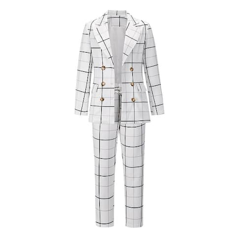 Women's Double-Breasted Checkered Blazer And Trousers Suit