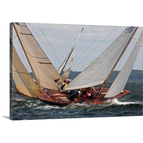 """Yachts sailing in 6 Metre World Championships, Newport, Rhode Island"" Canvas Wall Art"