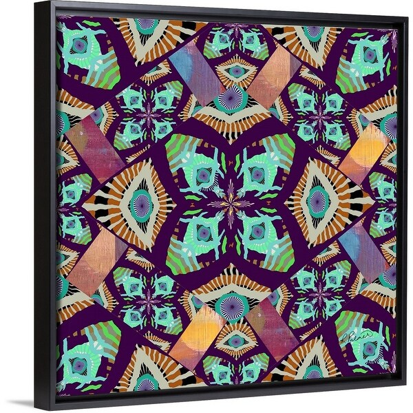 """Joyful In Labor Purple"" Black Float Frame Canvas Art"