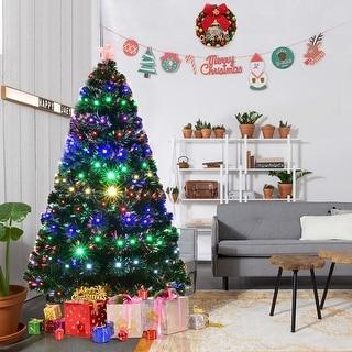 Costway 6' Pre-Lit Fiber Optic Artificial Christmas Tree w/Multicolor