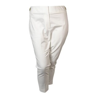 Calvin Klein Women's Cropped Buckle Pants - Soft White
