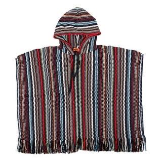 Link to Missoni Black Metallic Crochet Knit  Zigzag Fringe Hooded Poncho - Large Similar Items in Scarves & Wraps