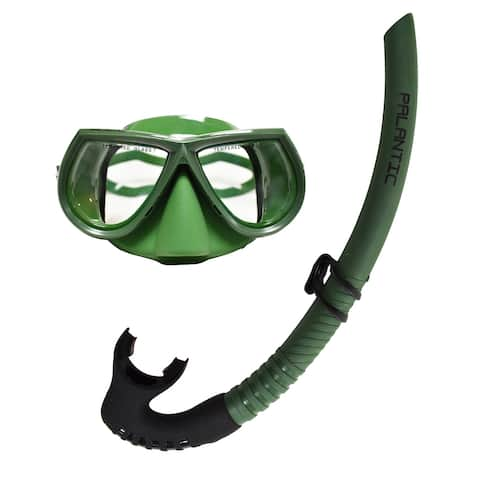 Palantic Green Free Dive Spearfishing Low Volume Mask & Flexible Snorkel Combo