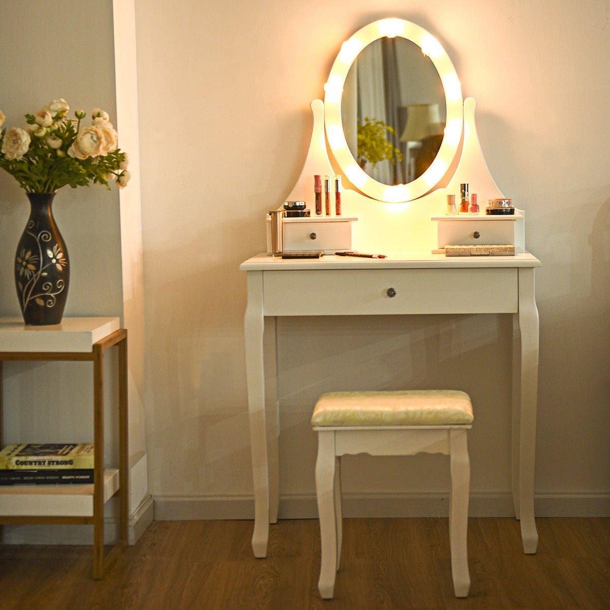 Gymax 3 Drawers Vanity Makeup Dressing Table Stool Set Lighted Mirror On Sale Overstock 25199029