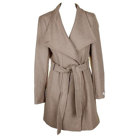 Calvin Klein Petites Tan Gold Tie Belt Toggle Sleeve Closure Button Wool Coat - pl