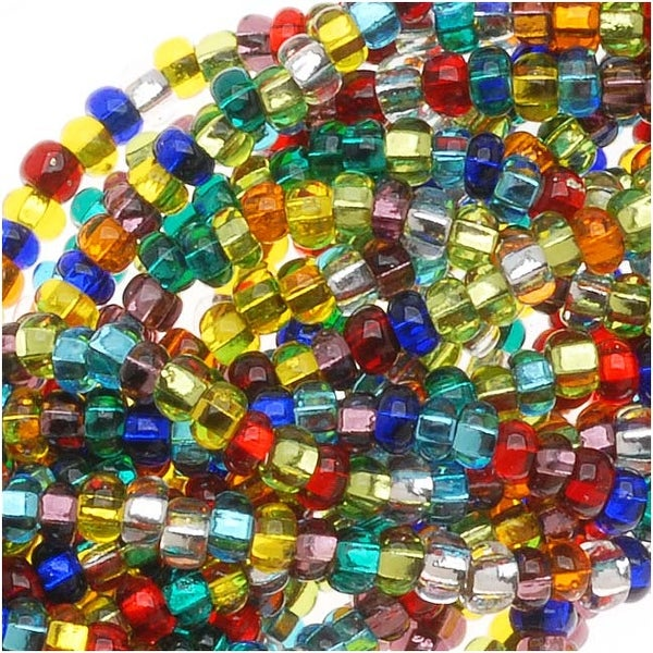 Czech Seed Beads Mix Lot 11/0 Rainbow Foil Lined