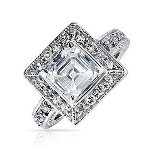 Bling Jewelry Silver Vintage Style Asscher Cut CZ Milgrain Engagement Ring
