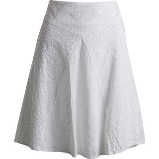 Lauren Ralph Lauren Womens Eyelet Knee-Length Flare Skirt