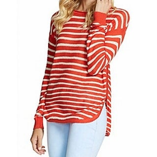 Jessica Simpson NEW Red Womens Size Medium M Striped Pullover Sweater